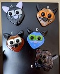 Fused Glass Cat and Dog Magnets