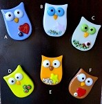 Fused Glass Owl Magnet